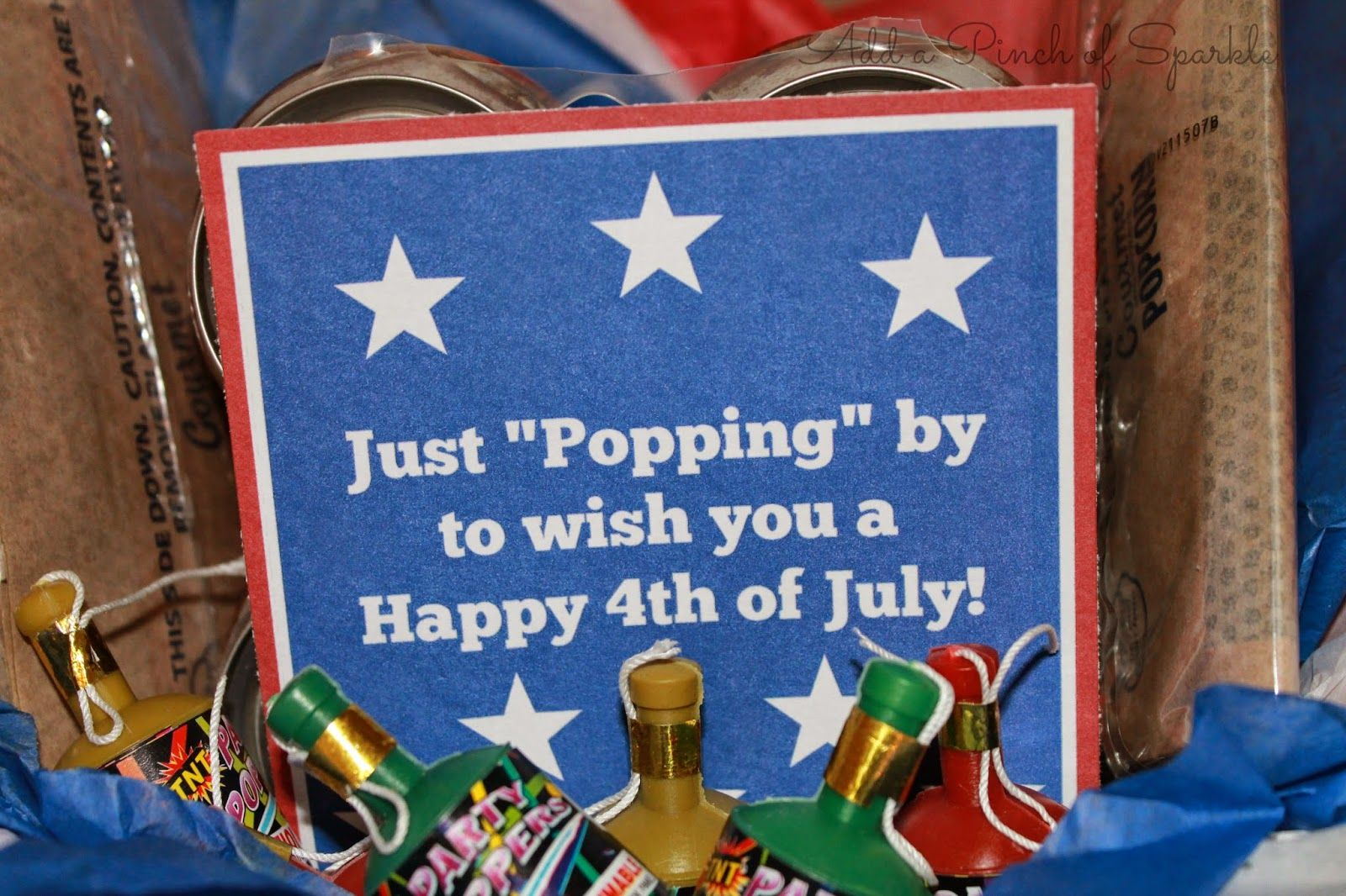 Add a pinch of sparkle 4th of july gift basket