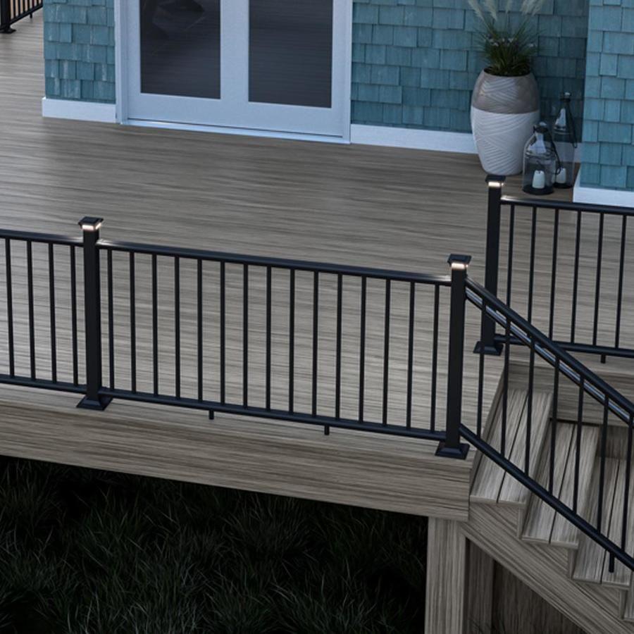 Deckorators Assembled 6 Ft X 3 5 Ft Classic Aluminum Satin Black Aluminum Stair Rail Kit With Balusters In 2020 Railings Outdoor Outdoor Stair Railing Deck Designs Backyard