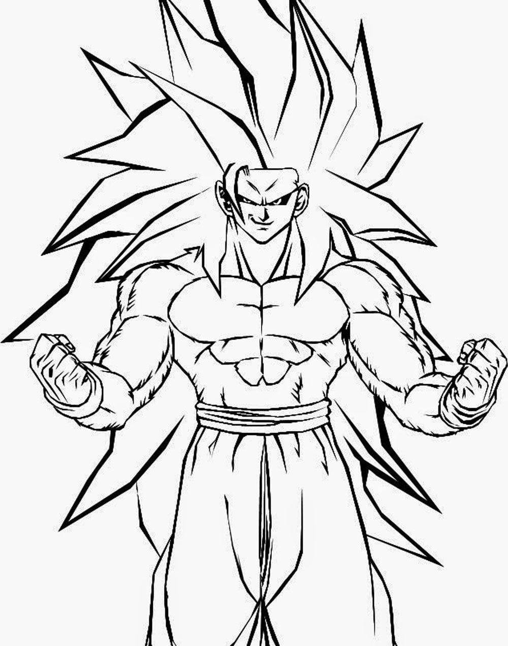 Dibujo De Kakaroto Son Goku Fase 3 Con El Pelo Largo Para Iluminar Y