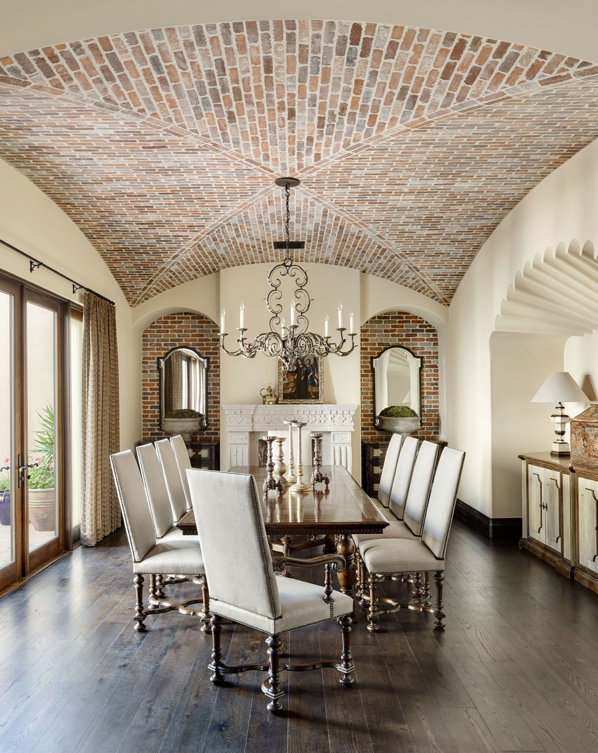 Groin Vault With Brick Dining Room And French Doors | Lisa Lee Hickman
