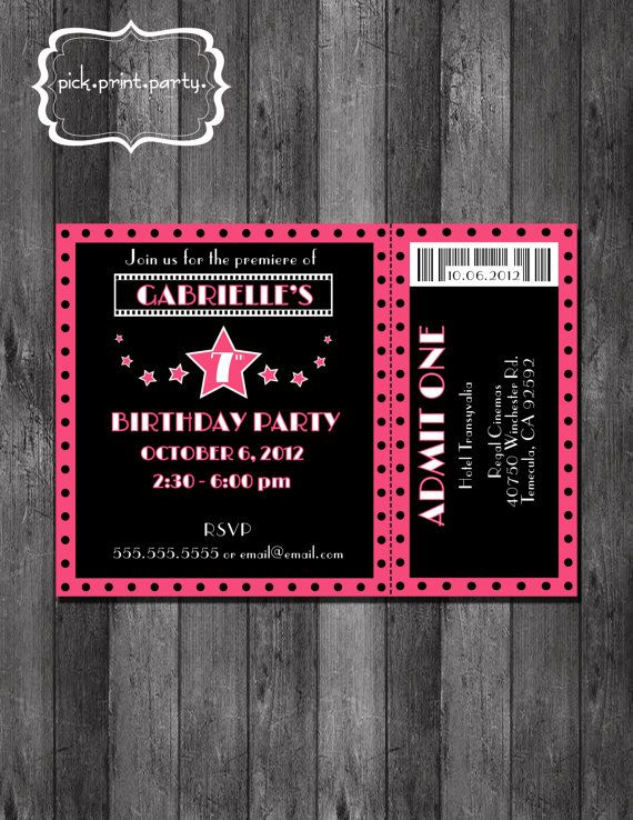 Movie Theme Birthday Party Invitation DIY By Pickprintparty 1200
