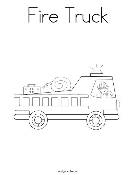 Fire Truck Coloring Page from TwistyNoodlecom Fire Prevention