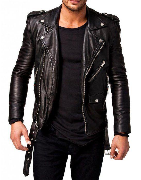 LeatherJacket4u Men's Moto Leather Jacket Mj 0247 Small Black ...