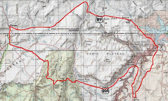 Map Of 89a Arizona.Map Of Us Route 89 89a In Arizona And Utah Travel Arizona