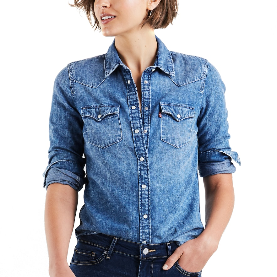 Women S Levi S Ultimate Western Denim Shirt Western Denim Shirt Denim Shirt Style Denim Shirt