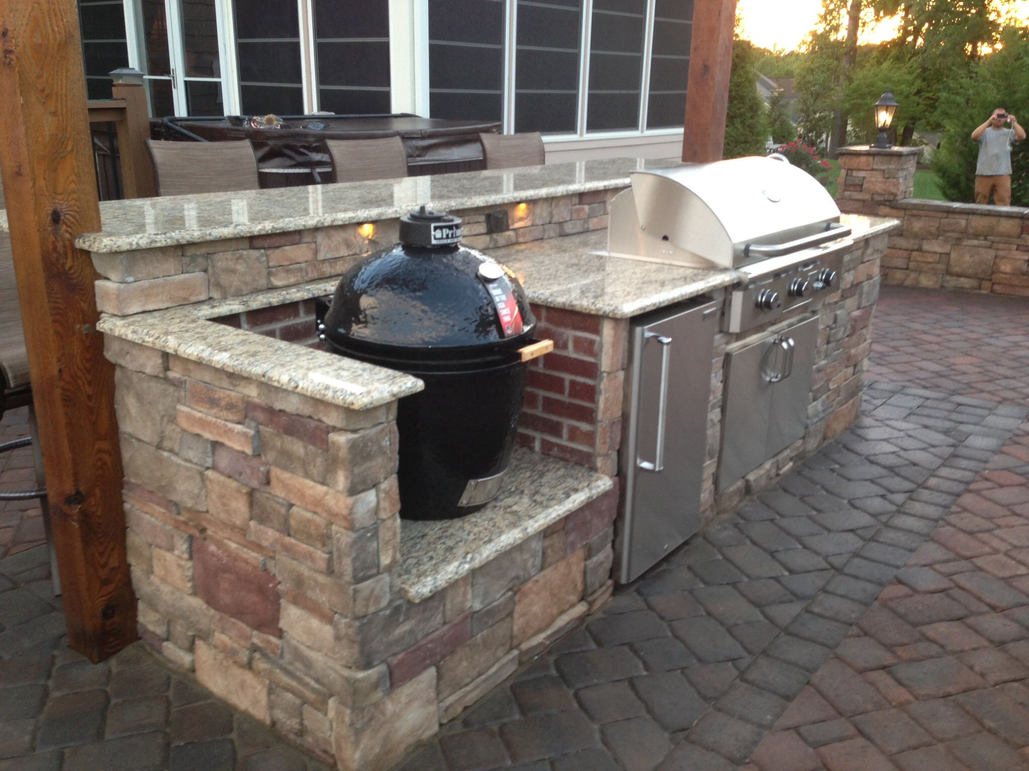 Island Smoker Has A Brick Surround For A Unique Contrast With The Stone Work Small Outdoor Kitchens Outdoor Grill Space Outdoor Bbq