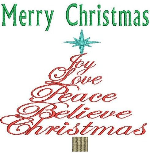MERRY CHRISTMAS WORD TREE Machine Embroidery Design