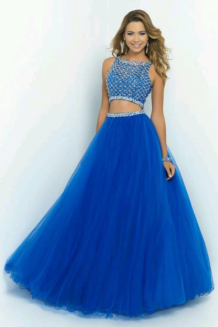 cccd35f20 2015 cuello alto azul Sexy Dos Piezas vestidos de baile baratos rebordear  de Tulle vestidos de