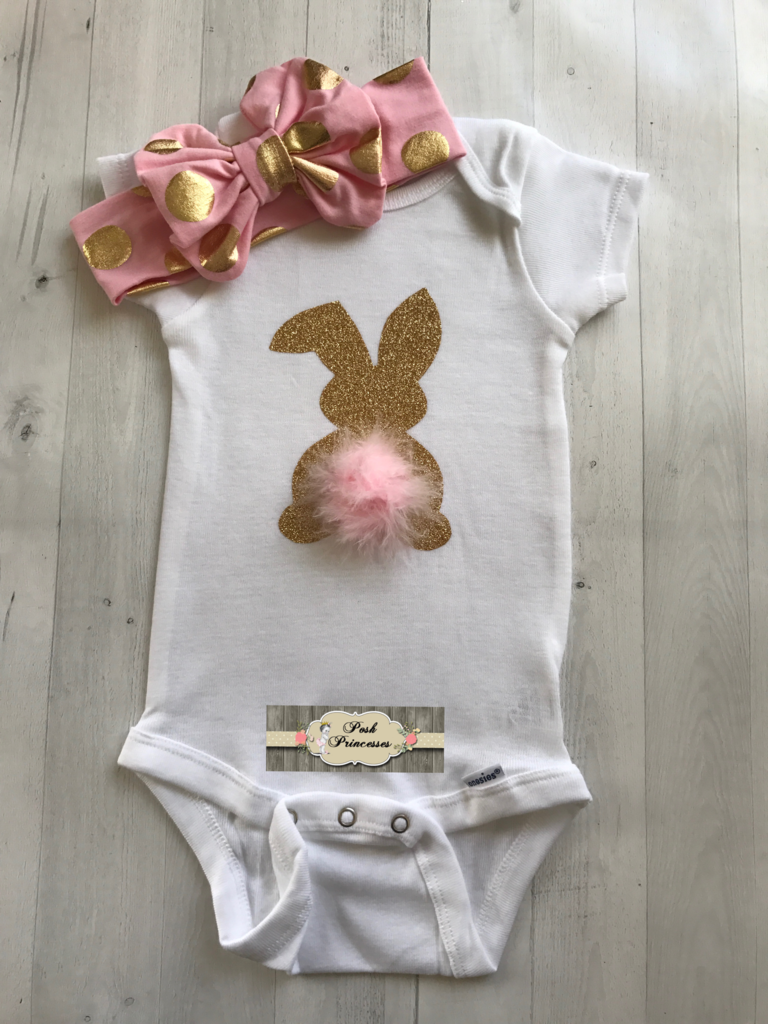 0df9ed38c5671 Easter Baby Girl Glitter Bunny Onesie, Peter Cottontail Onesie ONLY ...