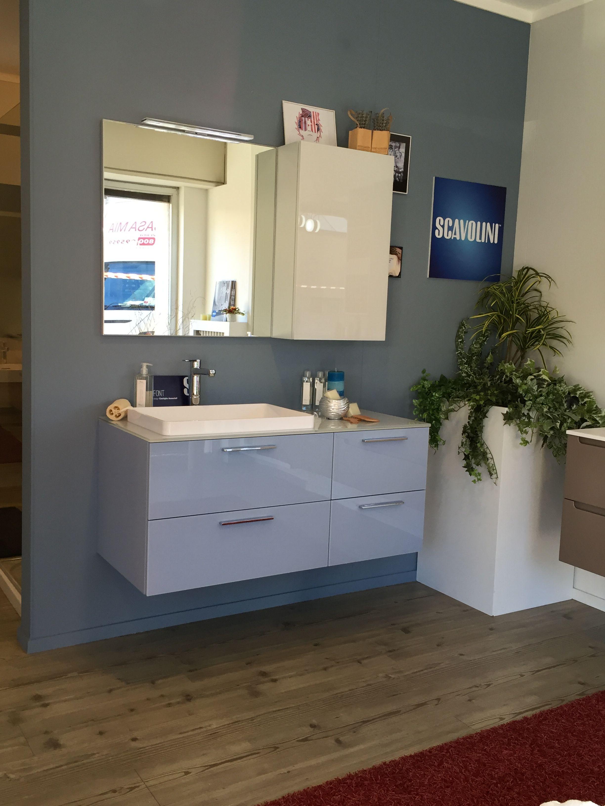Bagno #Scavolini modello #Font : anta vetro lucido colore Azzurro ...