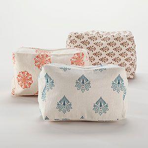 Large Block Print Cosmetics Bags, Set of 3 | World Market