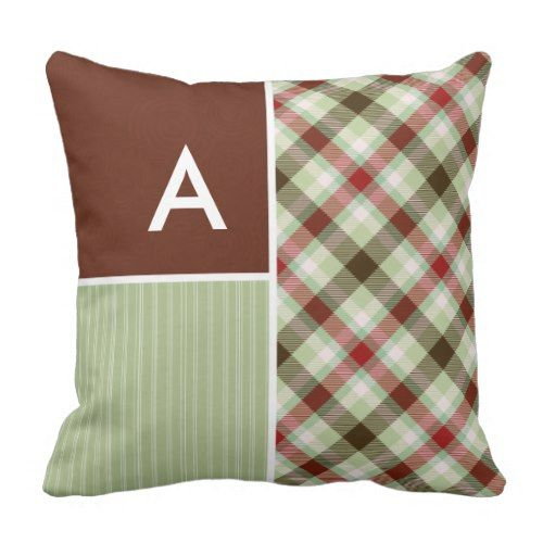 Maroon Sage Green Plaid Throw Pillow Decorative Pillows Custom Maroon Decorative Pillows
