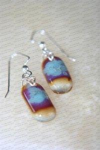 Silver foil aqua earrings