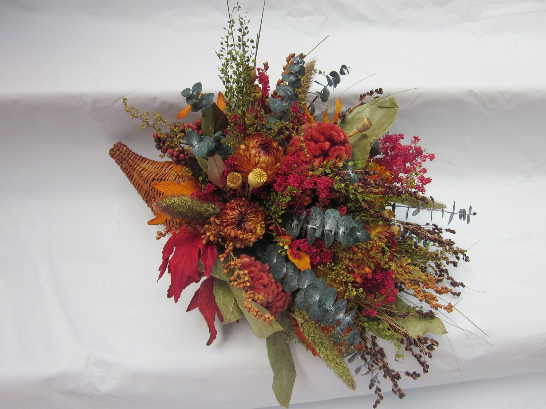 Conucopia Dried Flowers Cornucopia Centerpiece Silk Flowers
