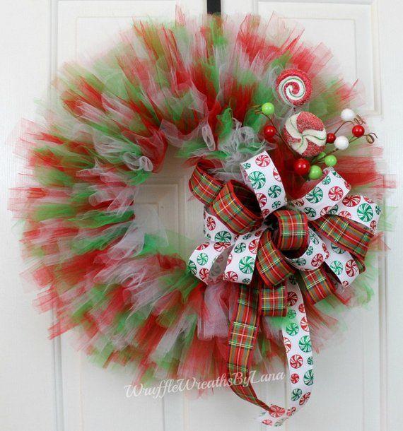 Clearance!! Tulle Christmas Wreath, Tulle Holiday Wreath, Christmas
