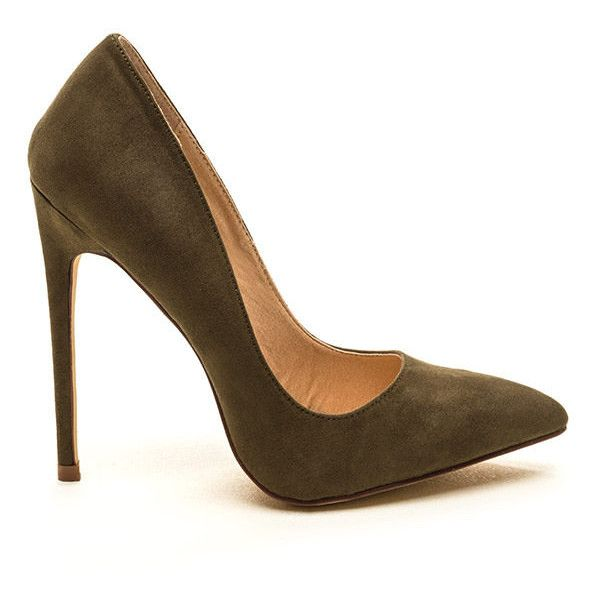 4e0f956ff5d2 Head To Toe Faux Suede Pumps OLIVE ( 22) ❤ liked on Polyvore featuring  shoes