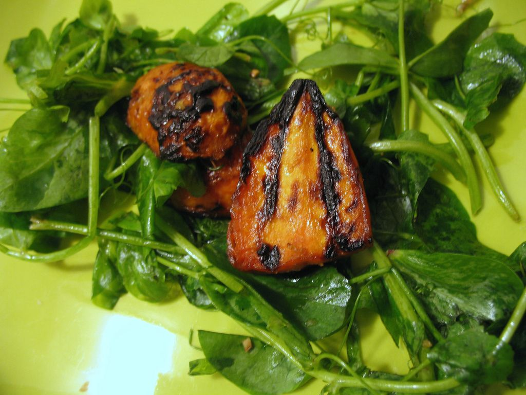 Ginger-Glazed Grilled Carrot and Pea Shoot Salad | Not Eating Out in New York