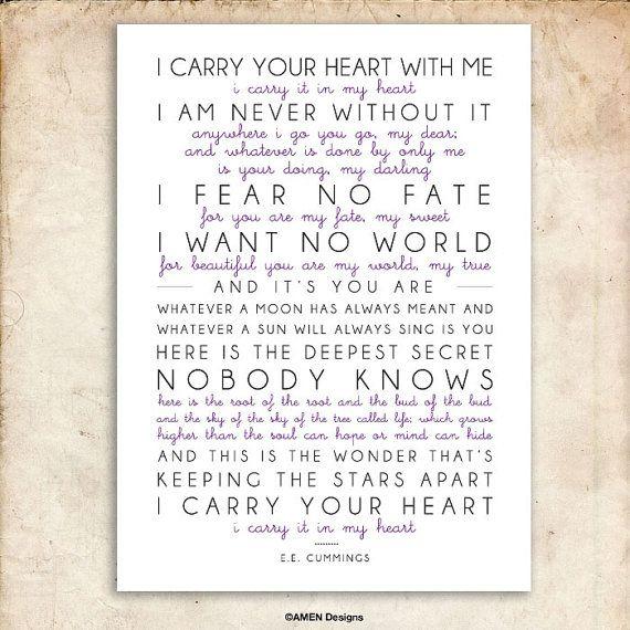 I Carry Your Heart E E Cummings Poem Printable Design