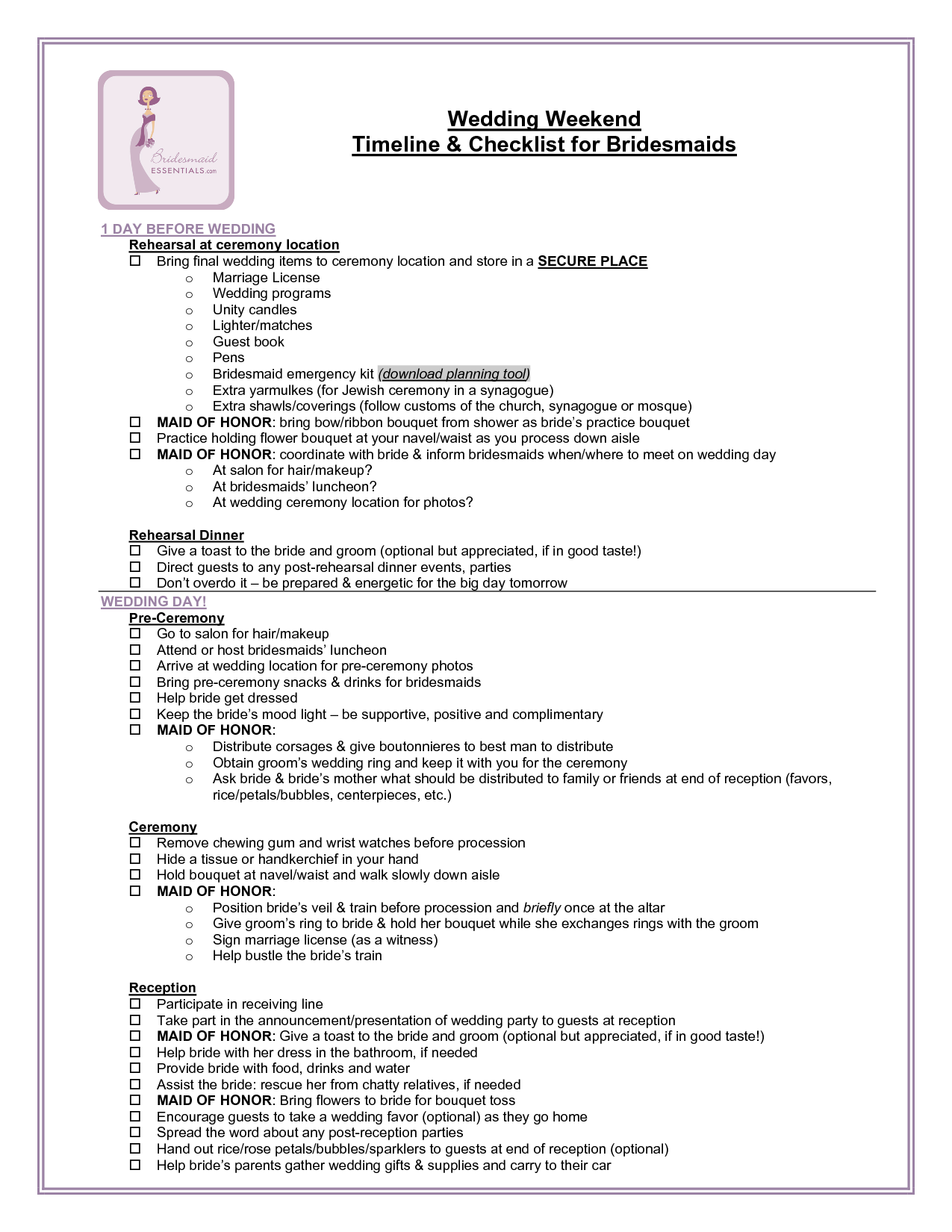 conference checklist and timeline bridesmaid wedding weekend