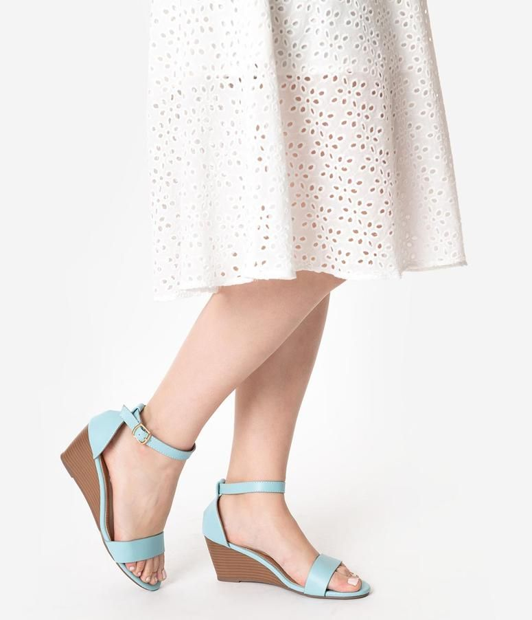 cac3cd8a9f7a Retro Style Sky Blue Leatherette Wedge Sandal in 2019