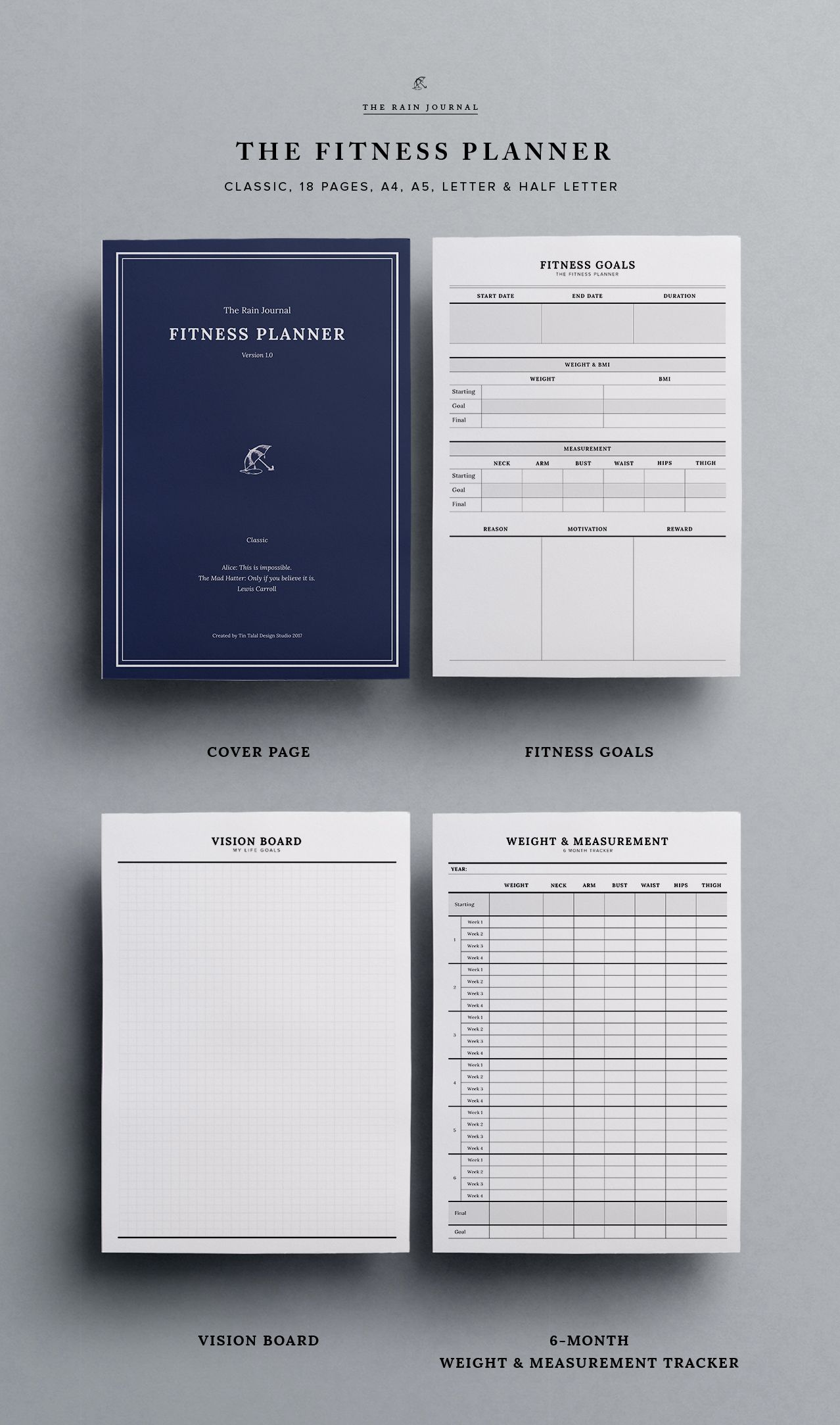 The Ultimate Fitness Planner Printable By The Rain Journal Classic