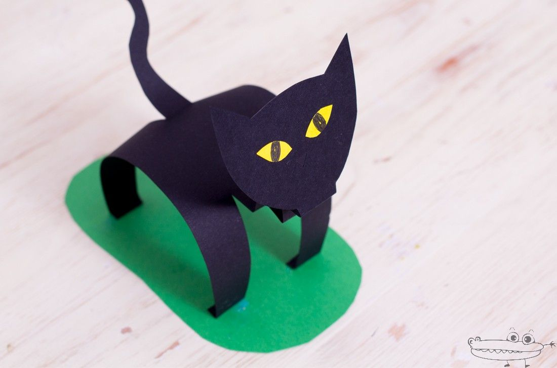 Gato de cartulina easy halloween - Manualidades de gatos ...