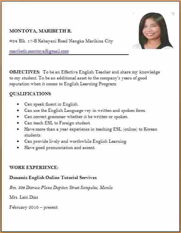 Sample Of Resume Format For Job Application #application #format