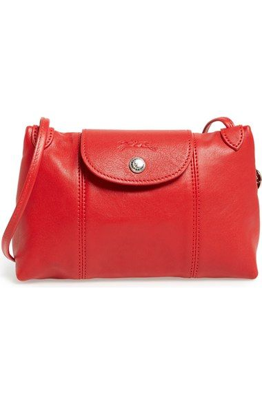 20d3259408cbf Longchamp  Le Pliage - Cuir  Crossbody Bag - Cherry