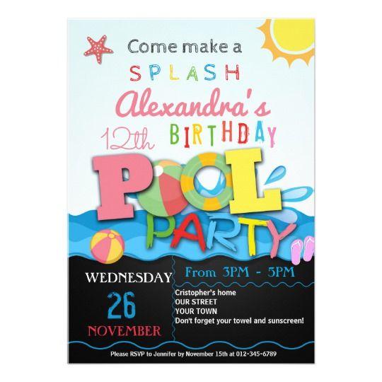 Summer pool party invitation pool birthday party Pool party - birthday invitation pool party