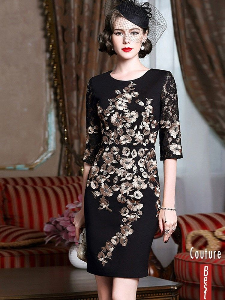 View Black With Gold Classy Cocktail Dress For Women Over