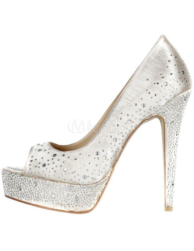 De Zapatos Toe Blanco Con ClavosWeding Peep Satén vNwO8n0m