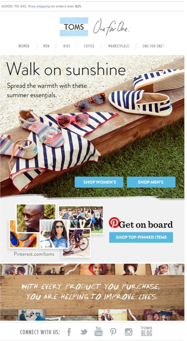toms summer newsletter email design fashion newsletters