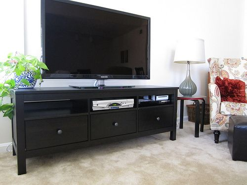 want simple, effective and cheap, IKEA Hemnes TV stand in black - tv grau beige