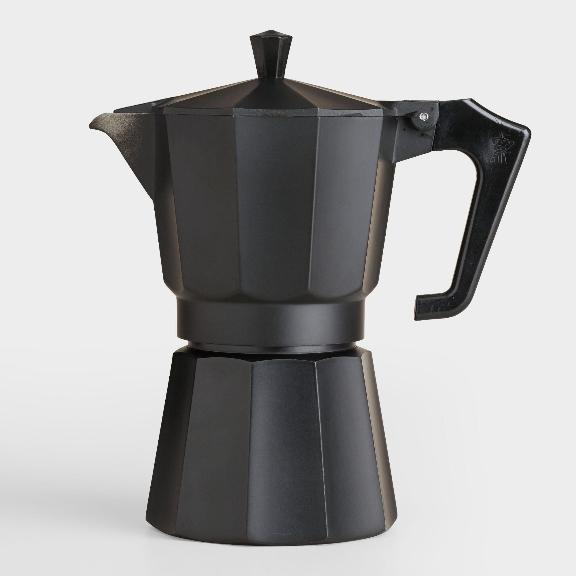 Black Matte 6 Cup Stovetop Moka Pot Espresso Maker By World