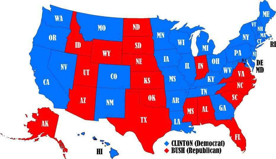 Recount Unclear Winner In US Presidential Election - Us political map by county
