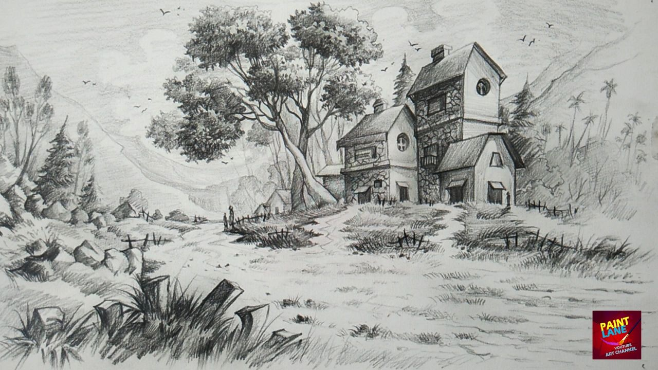How To Draw And Shade A Simple Landscape For Beginners With Pencil Landscape Pencil Drawings Landscape Drawing Easy Landscape Drawings