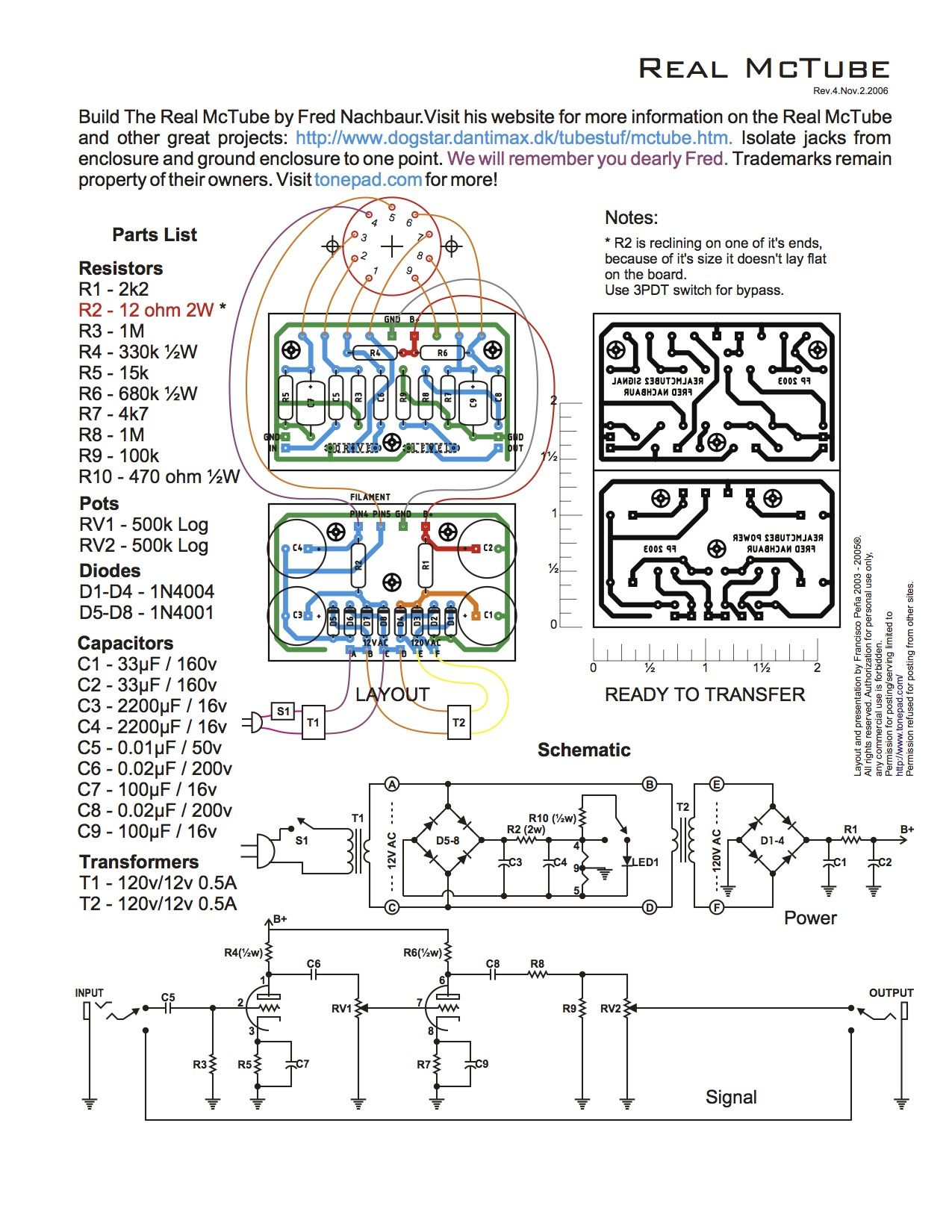 Fine The Real Mctube By Fred Nachbaur Fx Circuits In 2019 Diy Guitar Wiring 101 Archstreekradiomeanderfmnl