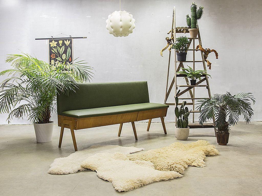 Vintage design eettafel bank industrieel vintage sofa mid century