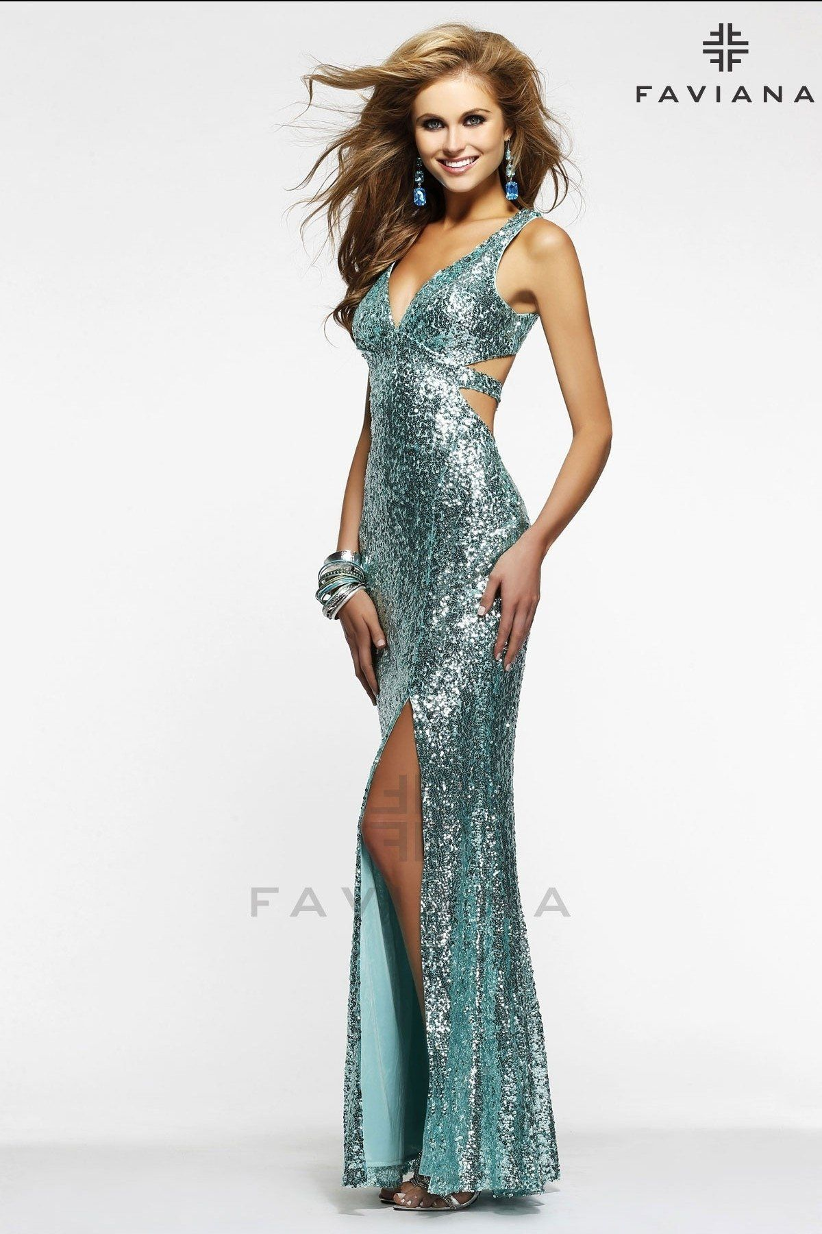 e58daae9 Faviana Style 7313 CUT OUT SEQUIN FEATURING A LOW BACK Shine bright in this  brilliant evening gown from Faviana 7313. The plunging v-neckline bodice  has ...