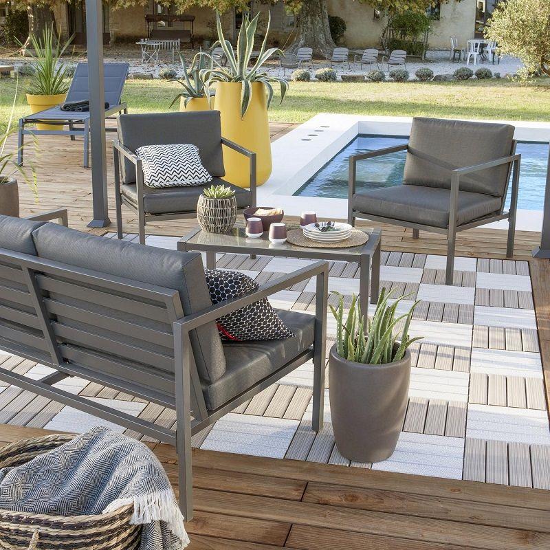 Salon bas de jardin Lisboa aluminium gris | Pinterest | Salons