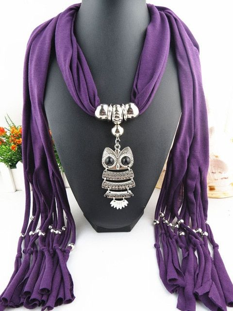 Women Lavender Fashion Scarf Fabric Purple Silver Dog Poodle Pendant Necklace