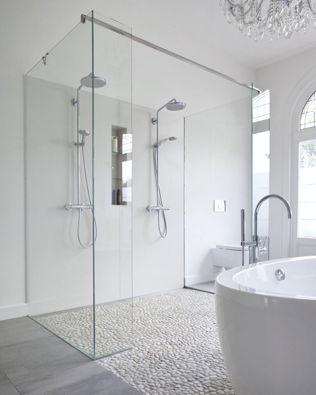 modern bathroom features a chandelier free 13715
