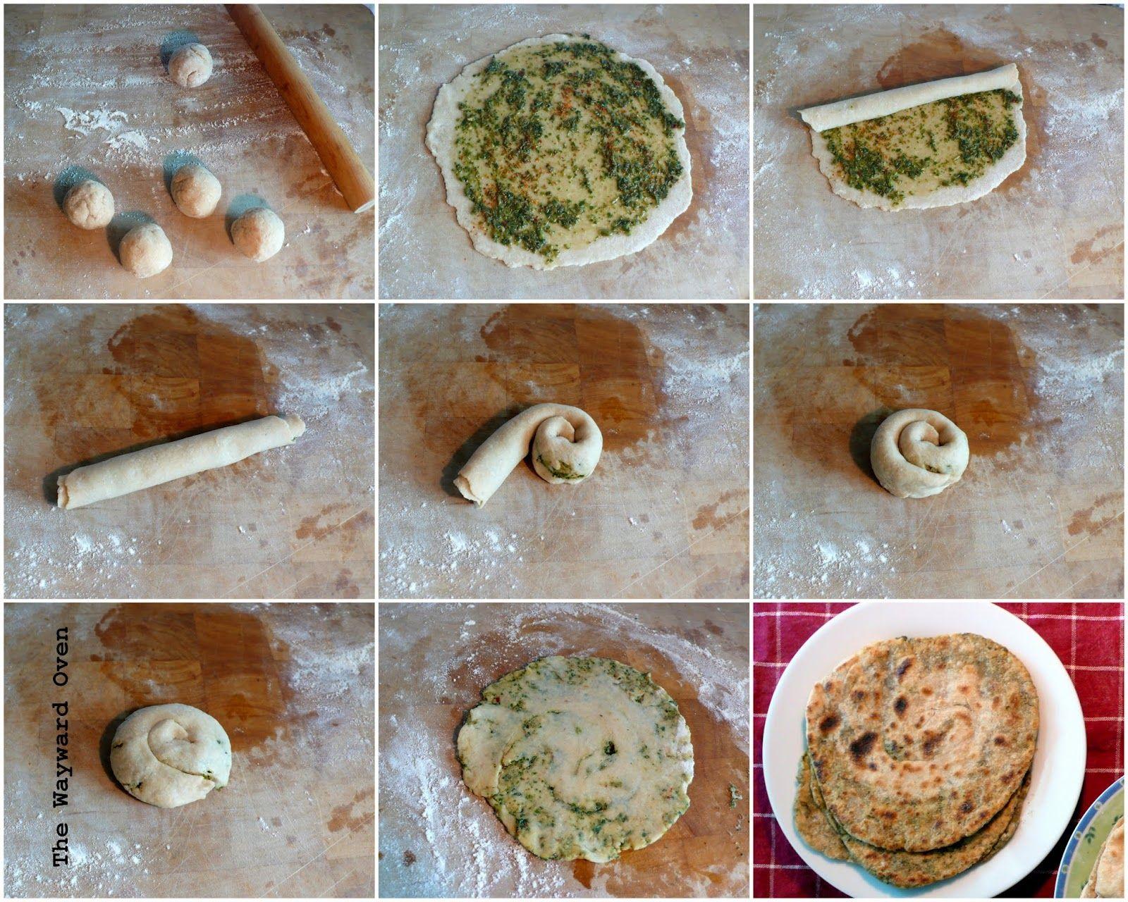 Making herbed roti