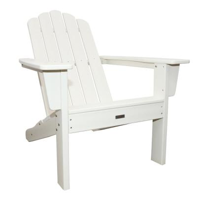 Luxeo Marina White Plastic Outdoor Patio Adirondack Chair Furniture Rustic Furniture Fire Pit Table Chairs