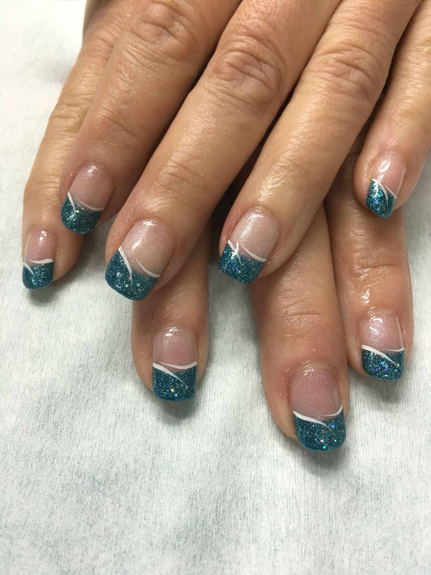 aqua french shimmer gel nails