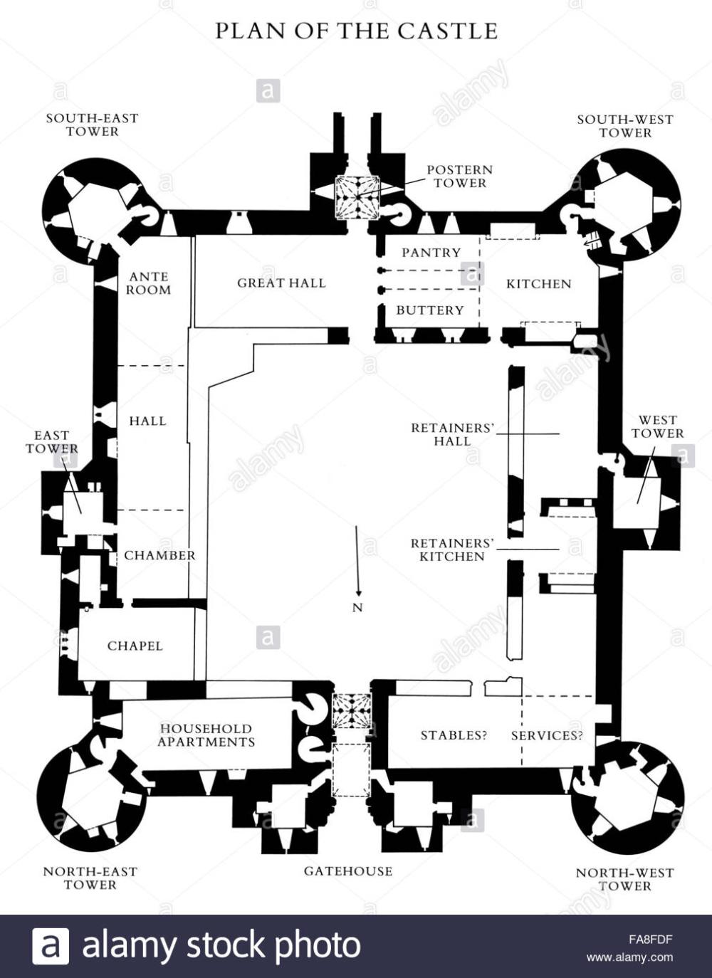 Stock Floor plan of Bodiam Castle East Sus