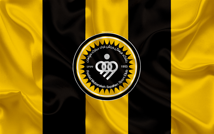 Download Wallpapers Sepahan Sc 4k Silk Texture Logo Emblem Yellow Black Silk Flag Iranian Football Club Isfahan Iran Football Persian Gulf Pro League Emblems Emblem Logo Yellow Black
