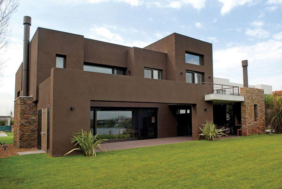 Casa marrom pedra planos home pinterest fachadas for Casas modernas acogedoras
