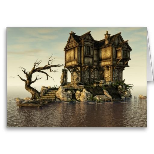 "Fantasy House on The Sea Greeting Card. House Home Fantasy Surreal Surrealism Ocean Water ""Medieval Building"" Sea old"