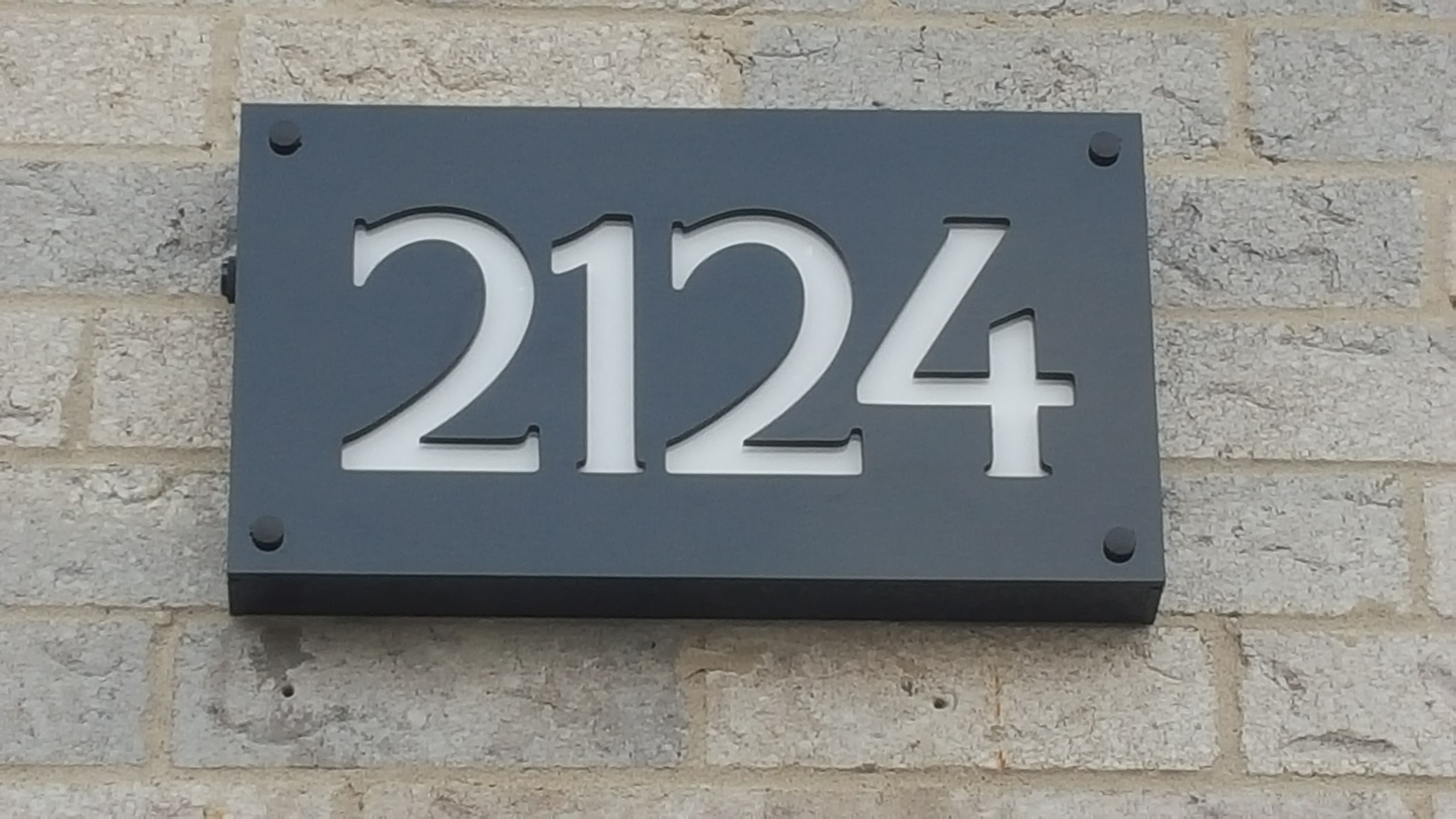 Custom Engraved Front Lit Led Illuminated Address Sign House